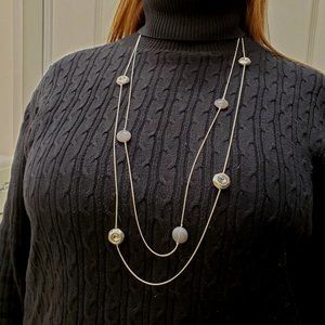 Jewelry - Long Necklace Silver Metals, Crystals, Grey Beads